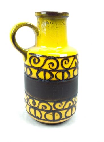 West German Pottery Jug / Vase Yellow And Black Rare European